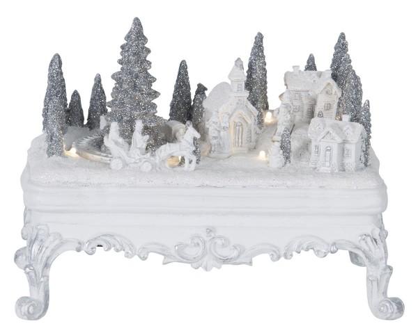 """LED-Weihnachtszene """"Glasgow"""" - 6 warmweiße LEDs - weiß - batteriebetrieben - ↑16,5cm"""