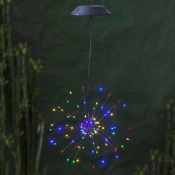 LED Solar Gartendeko FEUERWERK - 90 bunte LED - H: 50cm D: 26cm - Dämmerungssensor - hängend