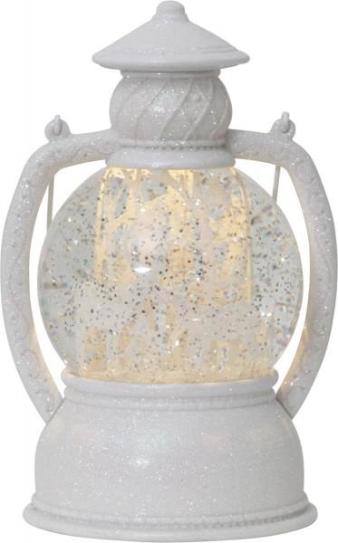 """LED-Laterne """"Winter"""" mit Schneekugel - 1 warmweiße LED - weiss/Glitzer - ↑20cm"""