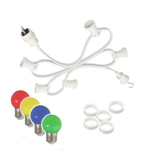 Illu-/Partylichterkette 10m - Außenlichterkette weiß - Made in Germany - 10 bunte LED Tropfenlampen