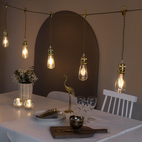 LED Lichterkette GLOBE - 8 bernsteinfarbene LED - L: 3,5m - inkl. Dimmer - Trafo - indoor - gold