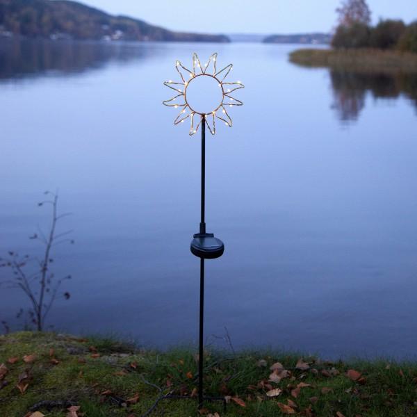 """LED Solarstab """"Sonne""""- schwarz - Sonne mit 26 warmweißen LED - H: 77cm - Dämmerungssensor"""