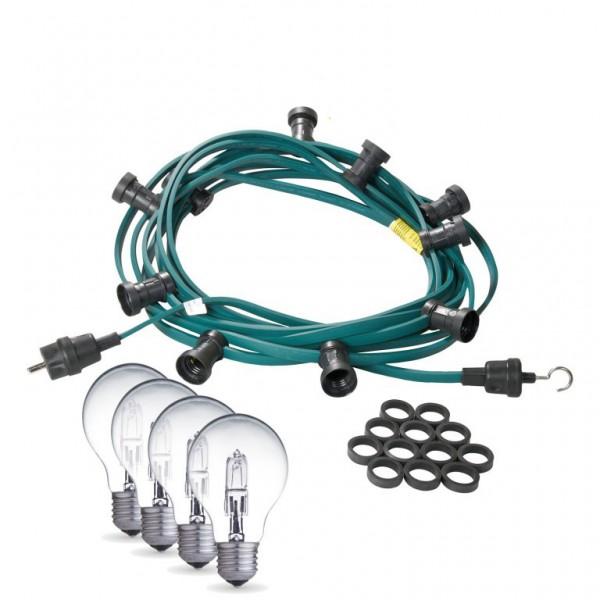 Illu-/Partylichterkette | E27-Fassungen | Made in Germany | mit weißen Glühlampen | 50m | 50x E27-Fassungen