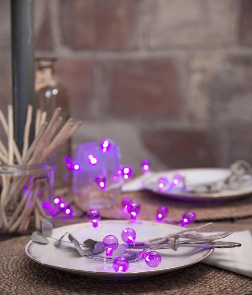 """LED-Lichterkette """"Mini Glow"""" - 20 kleine pinke Birnen - warmweiße LEDs - 1,6m - Batterie - Timer - outdoor"""