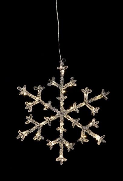 """LED-Acryl-Schneeflocke """"Icy Star"""" - 30 warmweiße LED - H: 30cm - schwarz/klar - Timer"""