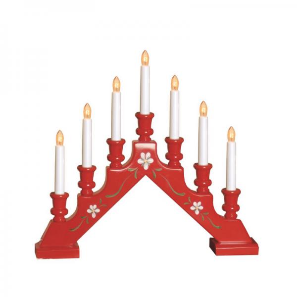 Fensterleuchter SARA - 7 warmweiße Glühlampen - L: 43cm, H: 38cm - Schalter - Rot, gedreht