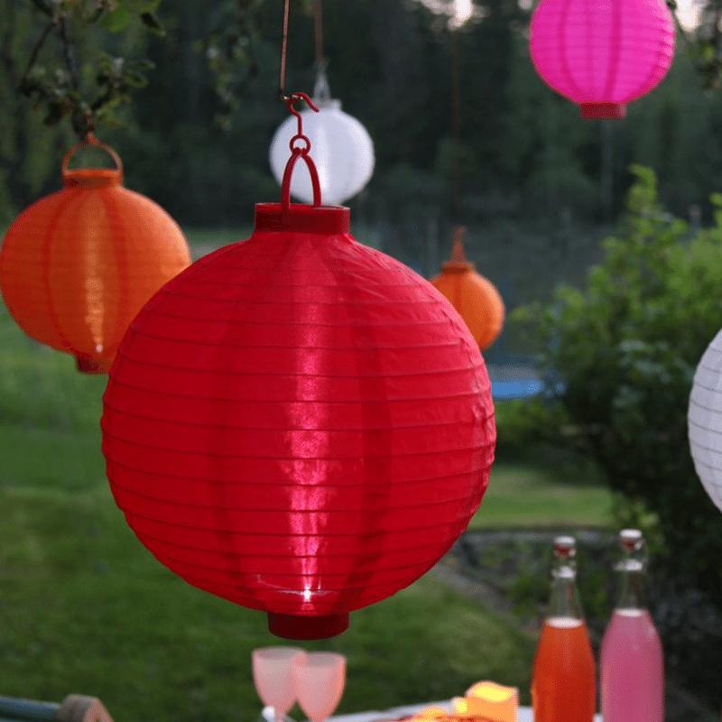 2er Set LED Terrasse Festival Event Vorgarten Solar Lampion Balkon gelb Akku