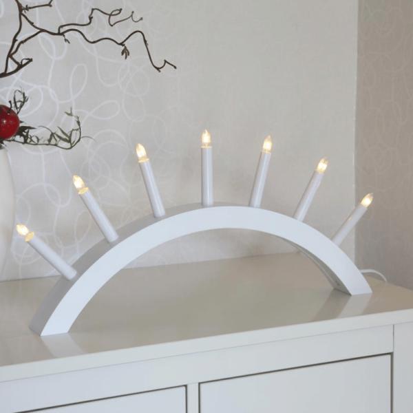 """Lichterbogen """"Aura"""" - 7 warmweiße Glühlampen - L: 58cm, H: 29cm - Holz - Schalter - Weiß"""