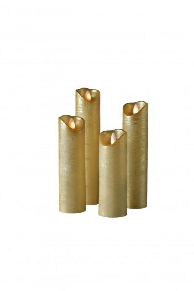 SOMPEX LED Wachskerze SHINE 4er Set schmal   gold   gefrostet   fernbedienbar   Timer
