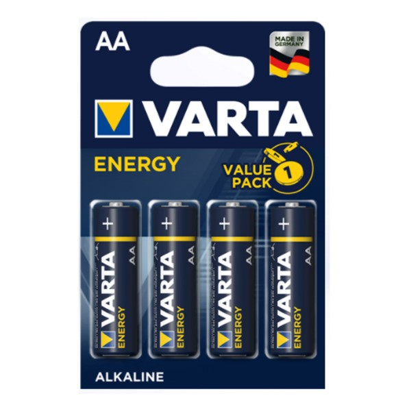 Varta Batterie Mignon AA - ENERGY ALKALINE - 4 Stück - Typ: LR6 - 1,5V