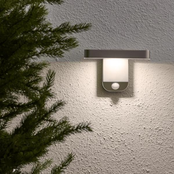 """LED Solar Wandleuchte """"Malta"""" - 9 warmweiße LED - H: 12cm - Bewegungs- & Dämmerungssensor - Timer"""