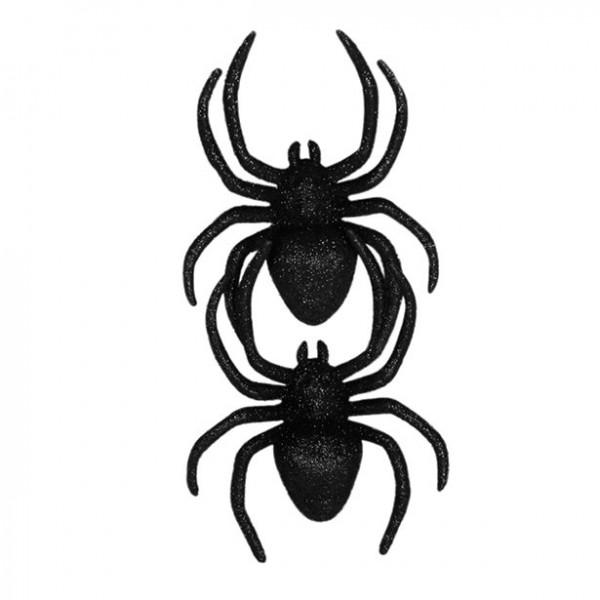 2 Glitzerspinnen - 12,5cm - Halloween Dekoration - Spinnen aus Kunststoff - Auch für Kostüme