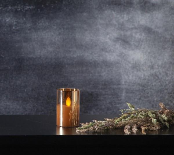 LED Windlicht - TWINKLE - Kerze im goldbraunem Glas - H: 7,5cm - D: 5cm - Timer - bewegte Flamme