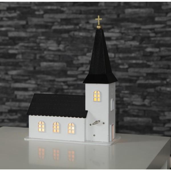 "LED-Leuchtkirche ""Churchill"" - 4 warmweiße LEDs - Kunststoff - weiss / schwarz - H: 35cm - Timer"