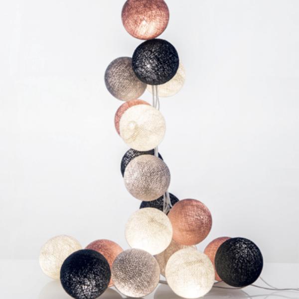 good moods* WUNDERBARE JAHRE - Ball-Lichterkette mit 35 Stoffkugeln - 35 warmweiße LEDs