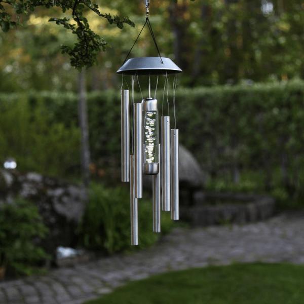 "LED Solar Windspiel ""Bubble"" - Edelstahl - warmweiße LED - H: 35cm - Dämmerungssensor - outdoor"