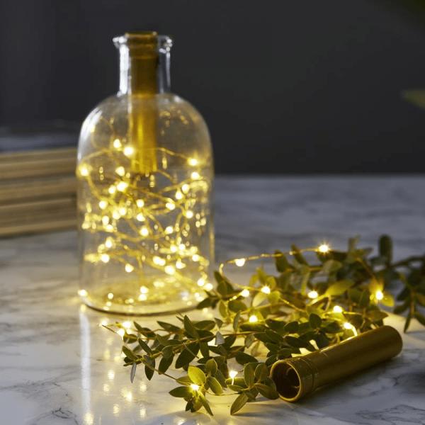 """LED Lichterkette """"Korken"""" - Flaschenverschluss - 15 warmweiße LED - 0,75m - Batterie - Timer - gold"""