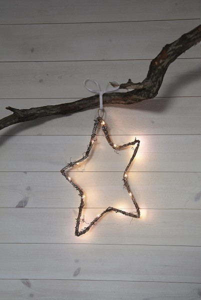 "LED-Dekoherz ""Willow Star"" - 15 warmweiße LED - Material: Holz/Metall - H: 37cm - braun"
