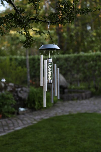 "LED-Solar-Windspiel ""Bubble"" - Edelstrahl/klar - 35cm -warmweiße LED - outdoor - Dämmerungssensor"