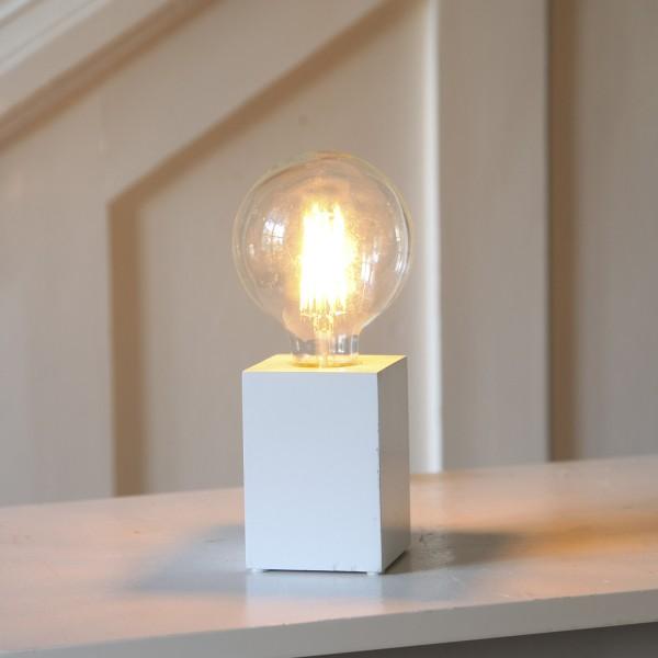 Lampenhalterung LYS - Tischleuchte - E27 - H: 10cm - stehend - Kabel mit Schalter - Holz - weiß