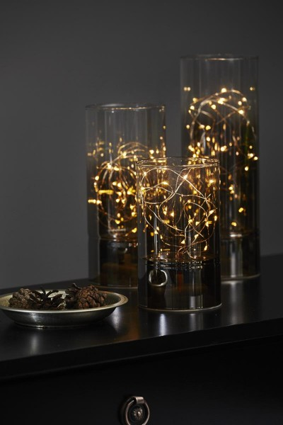 "LED ""Glass Tube"" - Rauchglas mit 25 warmweißen LED - H: 25cm D: 9cm - Batteriebetrieb - Timer"