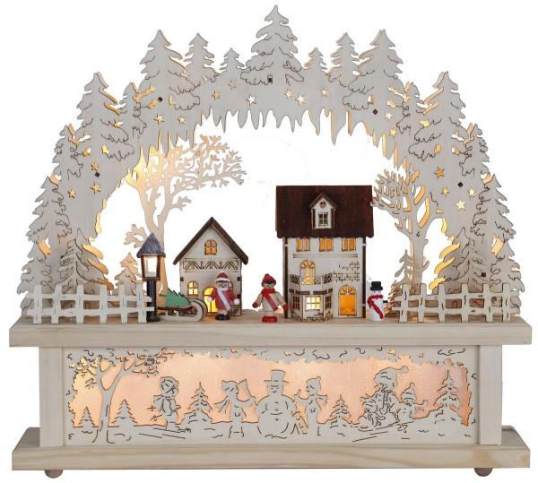 "LED-Fensterleuchter ""Rosenheim"" 15 warmwhite LED, Material: Holz Farbe: natur, ca. 40 cm x 43 cm Trafo, Vierfarb-Karton"