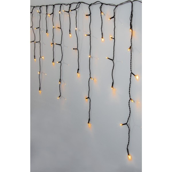 LED Lichtervorhang - outdoor - 160 warmweiße LED - L: 3,0m, H: 0,48m - transparentes Kabel