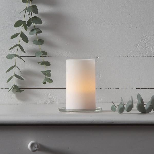 LED Kerze SHARP - Echtwachs - gelb flackernde LED - Timer - H: 12,5cm, D: 7,5cm - creme