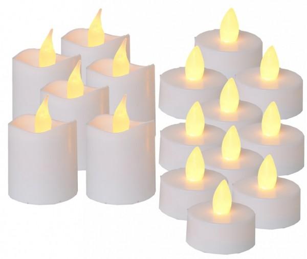 LED-Teelicht | Packy | flackernde LED | 6x Mini-LED-Kerzen + 10x LED-Teelichter