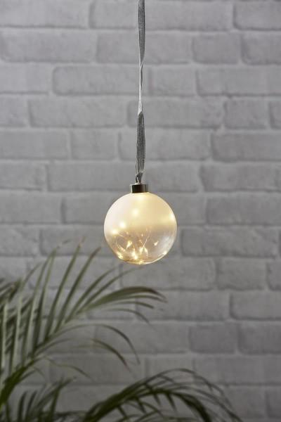 Glaskugel GLOW - gefrostetes Glas - 15 warmweiße LED am Draht - D: 10cm - Batteriebetrieb - Timer