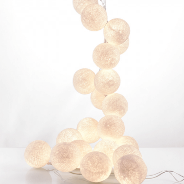 good moods* NATURBURSCHE - Ball-Lichterkette mit 20 Stoffkugeln - 20 warmweiße LEDs - Geschenkkarton