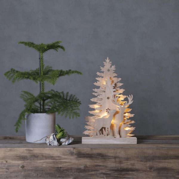 """LED-Fensterleuchter """"Fauna"""" - Rentiere - 10 warmweiße LED - H: 44cm - Batteriebetrieb - Holz - braun"""