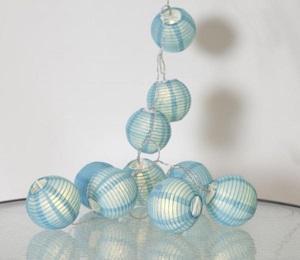"LED-Lichterkette ""Festival"" - 10 blaue Lampions mit warmweißen LEDs - 1,35m - inkl Trafo mit 3m Kabel"