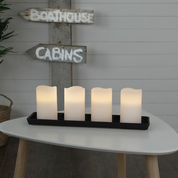 LED Kerzenset MAY - Echtwachs - flackernde LED - Timer - H: 12,5cm, D: 7,5cm - weiß - 4er Set