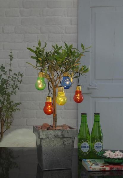 "LED Lichterkette ""Glow"" - 5 bunte Birnen - warmweiße LEDs - 1m - Batterie - Timer"