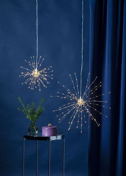 "3D-LED-Hängestern ""Firework"" -200 warmweiße LED - silber - D: 45cm - Material: Metall"