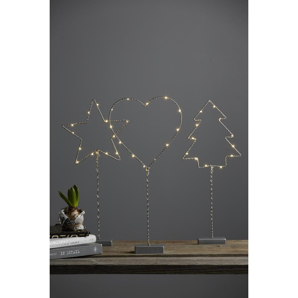 "LED-Standleuchte ""Drahtbaum"" -12 warmeiße LEDs - H: 42cm - Metall - Batteriebetrieb - silber"