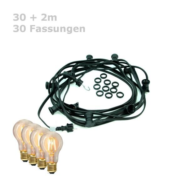 ILLU-Lichterkette BLACKY - 30m - 30xE27 | IP44 | warmweiße EDISON LED Filamentlampen | SATISFIRE