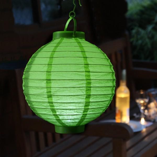 LED Lampion FESTIVAL - Papierlaterne - kaltweiße LED - D: 30cm - Montagehaken - grün