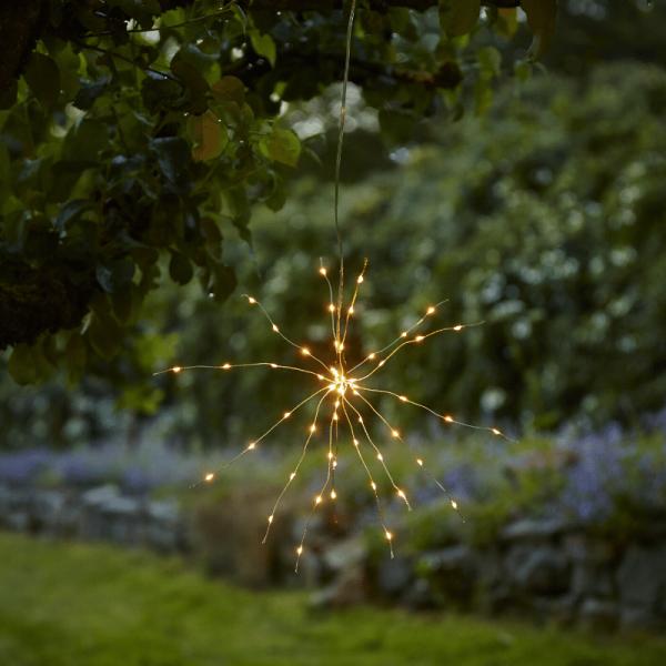 """LED Solar Gartendeko """"Firework"""" - 60 warmweiße LED - H: 60cm D: 35cm - Dämmerungssensor - hängend"""