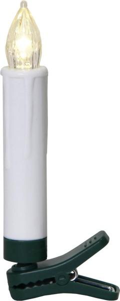 Baumkerzen LED Schaftform, 10er Set., warmweiße LEDs - Fernbedienung - Timer - H: 10cm - D: 1,5cm