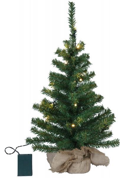 """LED-Tannenbaum """"Toppy"""" - im Jute-Sack - H: 60cm, D: 32cm - 20 warmweiße LEDs - Timer - Batterie"""