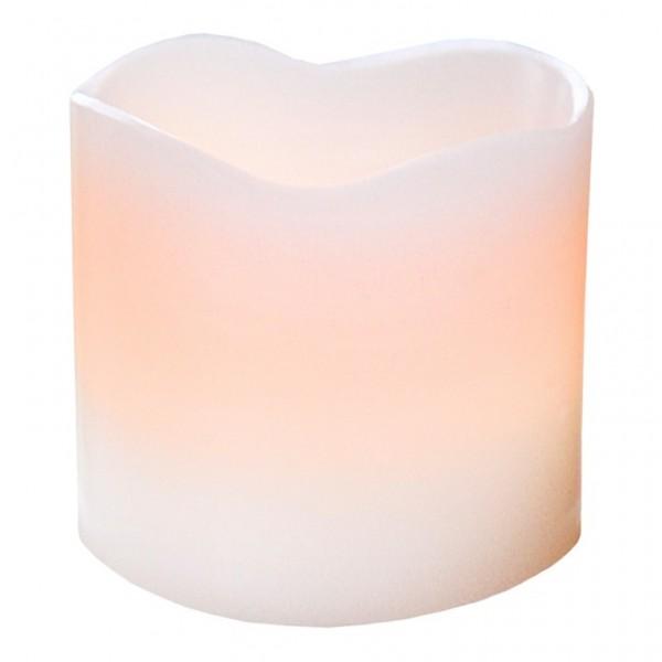 LED-Kerze | Echtwachs | Wave-Design | flackernde LED | Timer | →8 | ↑7cm | Creme 1