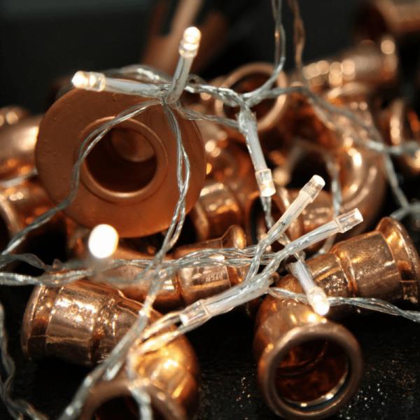 LED Lichterkette - 40 warmweiße LED - Batteriebetrieb - L: 3,9m - Indoor - transparentes Kabel