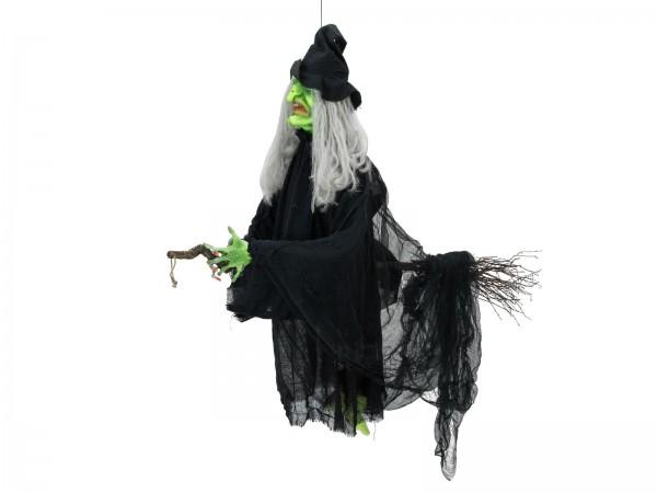 Flughexe - bewegte Halloween Figur zum Hängen - 140cm - Bewegung, Licht und Geräusche - Sensor