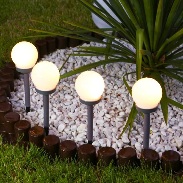 LED Solar Wegeleuchten - milchige Solarkugel - Erdspieß - warmweiße LED - H: 27cm - 4 Stück