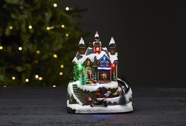 """LED-Weihnachtszene """"Trainville""""mit Bewegung und Musik - 8 bunte LEDs -bunt - ↑22cm"""