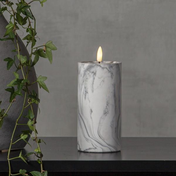 LED Stumpenkerze Flamme - Marmoroptik - Zement/Wachs - natürliche Flamme - Timer - H: 17,5cm - grau