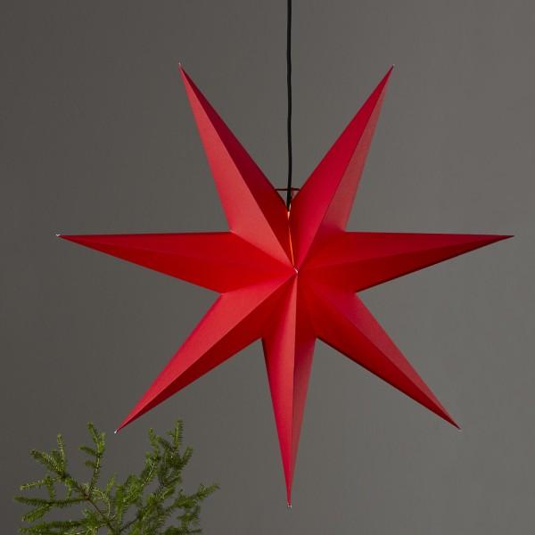 Papierstern Rozen - hängend - 7-zackig - D: 70cm - inkl. E14 Fassung u. Kabel - rot