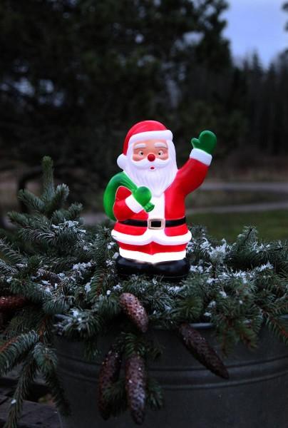 LED-Steckfigur Santa - 5 kaltweiße LEDs - H: 28cm - Timer - batteriebetrieben - Outdoor Figur